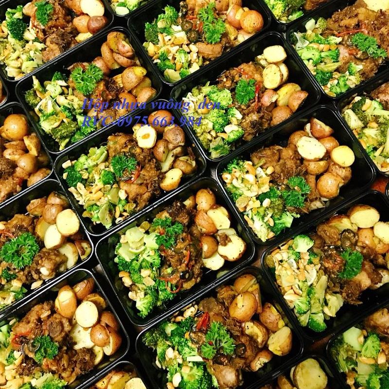 hộp nhựa đen chữ nhật đựng thực phẩm