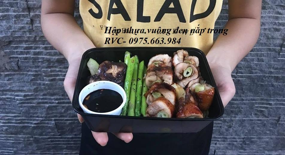 hộp nhựa đen đựng thực phẩm chữ nhật