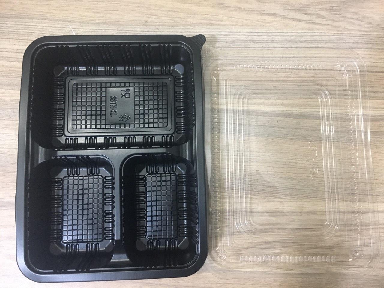 khay cơm 3 ngăn đen